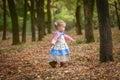 Little cute beautiful girl walks in autumn park