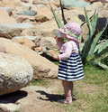 Little cute blond girl at the port in porto cervo sardinia one year and seven months of age Royalty Free Stock Photos