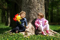 Little cute boy and girl on date Royalty Free Stock Photos