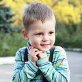 Little Cute Boy Outdoors Portrait Stock Photography