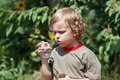 Little cute boy playing with bubbles outdoors Royalty Free Stock Photo