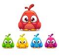 Little cute cartoon bird colorful variants isolated illustration Stock Photos