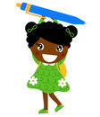 Little cute dark skin girl holding pen Stock Photos