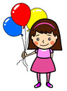 Little cute girl with balloons illustration of lovely cartoon style holding coloured Stock Images