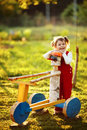 Little cute girl in the country Royalty Free Stock Photo