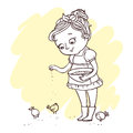 Little cute girl feeding chickens. Hand-drawn contour for children coloring. Royalty Free Stock Photo