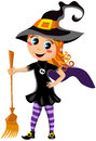 Little cute girl with halloween witch costume illustration featuring a smiling wearing and holding broom isolated on white Stock Image