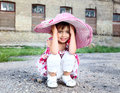 Little cute girl in pink hat Royalty Free Stock Images