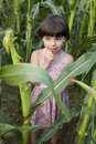 Little cute girl standing on field of corn Stock Photos