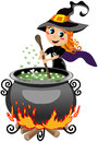 Little cute halloween witch preparing potion illustration featuring a smiling in the calderon isolated on white background eps Royalty Free Stock Photo
