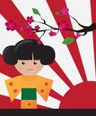 Little cute Japanese geisha character card Stock Photo