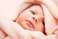 Little cute newborn baby child lying down bed Stock Image
