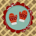 Little cute pair of red mitten wool mittens with embroidery for christmas card Stock Photography