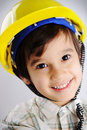 Little cute positive builder Royalty Free Stock Photos