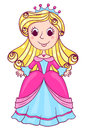 Little cute princess pink cartoon children illustration isolated on white Stock Photo