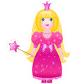 Little cute princess in a pink dress with a magic wand isolated on white background Stock Photos