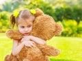 Sad girl with teddy bear Royalty Free Stock Photo