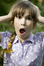 Little cute shouting girl Stock Photo