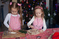 Little cute sisters bake gingerbread cookies for christmas this image has attached release Royalty Free Stock Photo