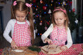 Little cute sisters bake gingerbread cookies for christmas this image has attached release Royalty Free Stock Photos
