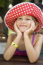 Little cute smiling  girl wearing Panama Royalty Free Stock Photography