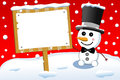 Little cute snowman and christmas sign board illustration featuring a smiling with bow tie top hat holding under snowfall blank Royalty Free Stock Photography