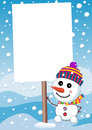 Little cute snowman and christmas sign board illustration featuring a smiling with scarf woolen cap holding under snowfall blank Royalty Free Stock Photos