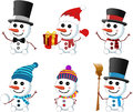 Little cute snowmen collection of six smiling wearing gloves scarf christmas hat bow tie top hat isolated on white background eps Stock Photography