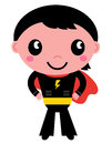 Little cute superhero boy young super hero vector illustration Royalty Free Stock Photo