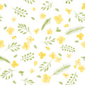 Little Cute Watercolor Flowers and Leaf seamless pattern.