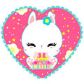 Little cute white bunny with a cake in heart. Magic world. Birthday. Greeting card. Childrens poster. Valentines day.