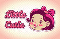 Little cutie illustration logo elements cute girls vintage childish template for tshirt design Royalty Free Stock Photos
