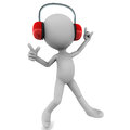Little d man enjoying music headset dancing tune white background Stock Image