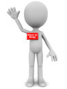 A little d man with name plate here to help in red waving his hand in a positive helpful attitude Royalty Free Stock Image
