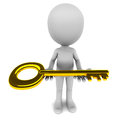 Little d man presenting golden key concept multiple opportunities key to future home success etc white background Stock Images
