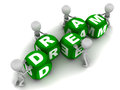 Little d men putting together dream word green blocks white background Royalty Free Stock Photography