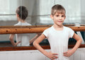 Little dancer standing near barre Stock Images