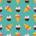 Little delicious cupcakes sweet dessert seamless pattern birthday party food cream sprinkles frosting snack vector