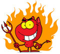 Little devil with pitchfork In flames Stock Photos