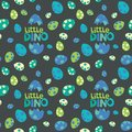 Little Dino Lettering with Colorful Spotted Dinosaur Eggs on Dark Background Seamless Pattern Vector Illustration