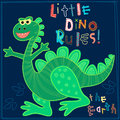 Little Dino rules the Earth embroidery character Royalty Free Stock Photo