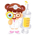 Little doctor kid is holding a large dice education and life ch character design series Stock Photo