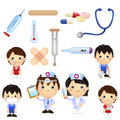 Little doctor kids a set of cartoon medical clipart good for teaching material book for etc Royalty Free Stock Photography