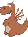 Little dragon cartoon lovely brown with wings Royalty Free Stock Photos