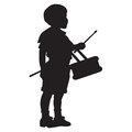 Little drummer boy silhouette of a young with a drum Royalty Free Stock Image