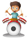 A little drummer illustration of on white background Stock Photo