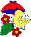 Little Duck under umbrella in rain Royalty Free Stock Photography