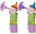 Little elves playing the trumpet Stock Images