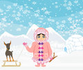 Little eskimo girl and her dog illustration Royalty Free Stock Photo