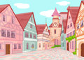 Little europe town street illustration of Royalty Free Stock Photography